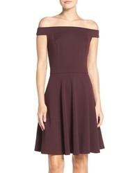 Off the shoulder knit fit flare dress medium 1042252