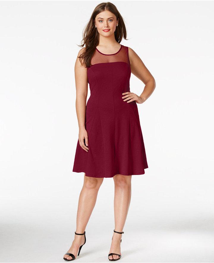 d3d693f038286 Love Squared Plus Size Illusion Fit Flare Dress