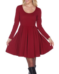 White Mark White Mark Jenara Long Sleeve Fit Flare Dress