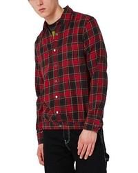 Burgundy Flannel Shirt Jacket