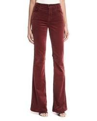J Brand Maria Flare Velvet Pants Wine