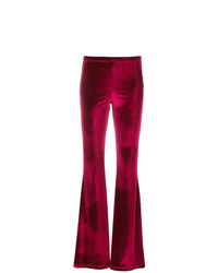 Black Coral Velour Flared Trousers