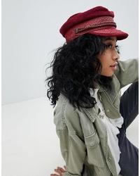Brixton Baker Boy Hat In Burgundy Cord