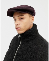 ef7cefb9a4180 ASOS DESIGN Flat Cap In Burgundy Black Check