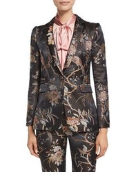 Alice + Olivia Macey Floral Print Single Button Blazer Burgundy