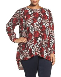 Vince Camuto Plus Size Woodland Floral Highlow Blouse