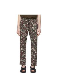 Dries Van Noten Burgundy Floral Perkino Trousers