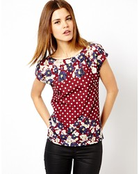 Burgundy Floral Crew-neck T-shirt