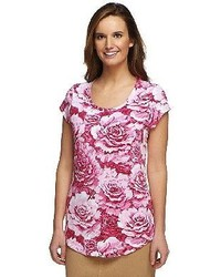 Isaac mizrahi live cabbage floral printed knit t shirt medium 133310
