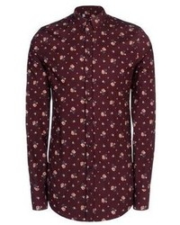Burgundy Floral Dress Shirt