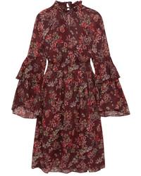 IRO Smocked Floral Print Georgette Dress Burgundy