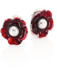 Oscar de la Renta Floral Resin Faux Pearl Clip On Stud Earrings