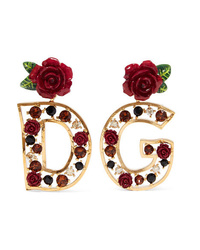 Dolce & Gabbana Gold Tone Crystal And Enamel Clip Earrings