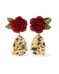 Dolce & Gabbana Gold Tone Enamel And Crystal Clip Earrings