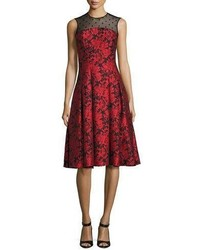 Carmen Marc Valvo Sleeveless Floral Jacquard Fit And Flare Dress Red