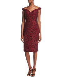 Jovani Off The Shoulder Embellished Floral Lace Cocktail Dress