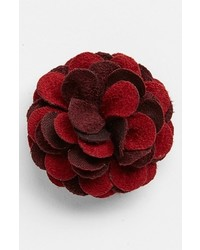 hook + ALBERT Suede Lapel Flower Red Bordeaux