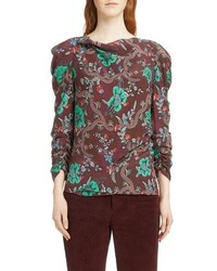 Isabel Marant Floral Print Ruched Sleeve Blouse