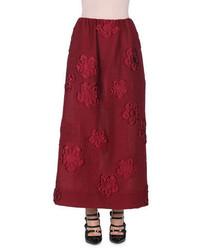 Fendi Floral Gauffre A Line Maxi Skirt Marrakech Red