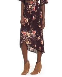 Burgundy Floral Midi Skirt
