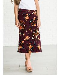 Kelly Floral Midi Skirt Burgundy