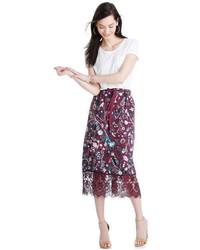Joe Fresh Lace Trim Floral Midi Skirt Dark Burgundy