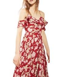 Topshop Petite Floral Off The Shoulder Maxi Dress