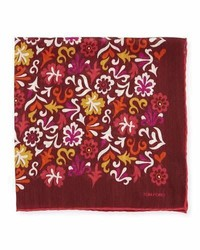 Burgundy Floral Pocket Square