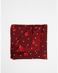 Asos Brand Pocket Square With Polka Dot Floral