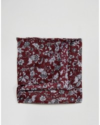 Asos Pocket Square In Burgundy Floral Design