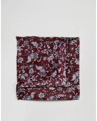 Asos Pocket Square In Burgundy Floral Design