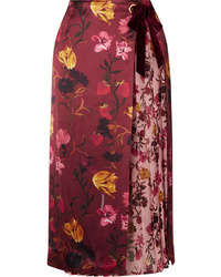 Mother of Pearl Mittie Printed Satin And Pleated Tte Wrap Skirt