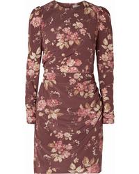 Zimmermann Draped Floral Print Crepe De Chine Mini Dress