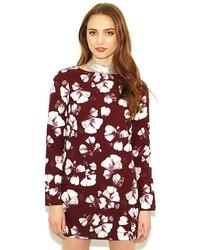 West Coast Wardrobe Winters Eve Ls Floral Shift Dress In Oxblood