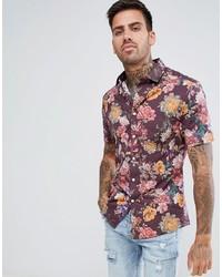 ASOS DESIGN Skinny Floral Print Shirt In Red