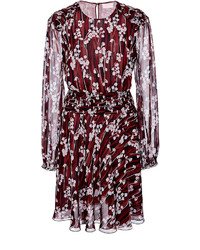 Burgundy silk printed mini dress medium 341800