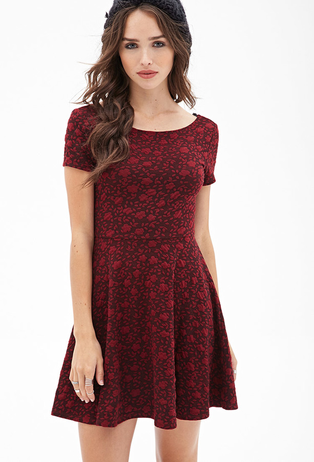 a2c13ac418 ... Forever 21 Textured Floral Skater Dress ...