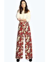 Boohoo michele floral print wide leg trousers medium 178464