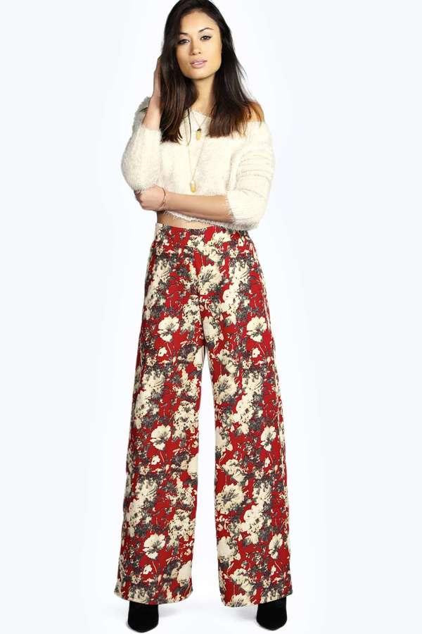 1665a87e3855 Boohoo Michele Floral Print Wide Leg Trousers, $35 | BooHoo ...