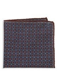 Canali Floral Print Wool Pocket Square