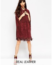Asos Cape In Suede With Fringe Detail