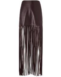 Burgundy Fringe Leather Mini Skirt
