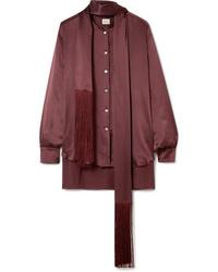 Hillier Bartley Fringed Silk Satin Shirt