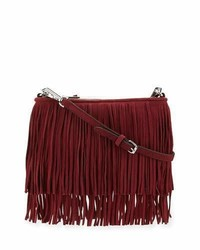 Burgundy Fringe Suede Crossbody Bag
