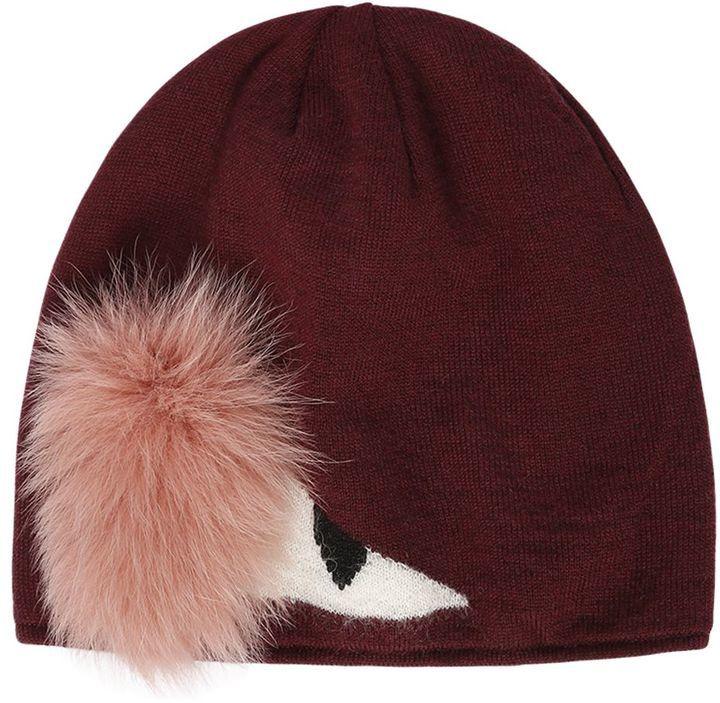 81cc5c8a10b ... Fendi Monster Eye Wool Beanie Hat With Fox