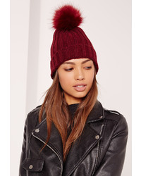 Missguided Burgundy Faux Fur Pom Pom Beanie