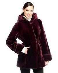 Dennis basso faux fur zip front coat with hood medium 132487