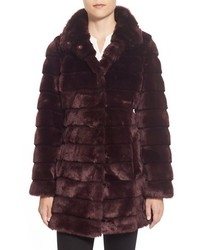 Grooved faux fur coat medium 372440