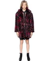 Karl Lagerfeld Printed Faux Fur Coat