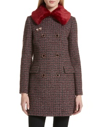 Ted Baker London Colour By Number Faux Check Wool Blend Coat